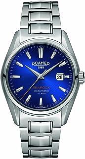 ROAMER 男式自动手表,黑色表盘 ANALOGUE 显示和银色不锈钢表链210633410220