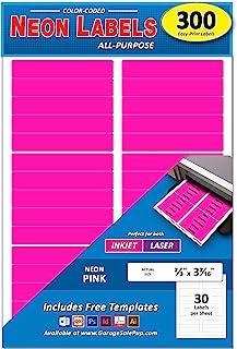 300 个装,2/3 英寸 x 3-7/16 英寸文件夹颜色编码,亮霓虹粉色,21.59 厘米 x 27.94 厘米纸张,每张 30 个标签,适合所有激光/喷墨打印机