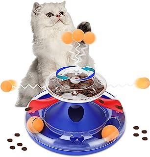 Little Bean 互动猫玩具 室内小猫 滚轴练习器 稳定旋转泄漏猫 食物喂食器 带帐篷球轨道 玩具 拼图玩具 防滑 有趣的宠物训练 玩耍(蓝色)
