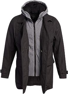 URBAN REPUBLIC 男式冬季夹克 - 羊羔毛衬里羊毛混纺大衣,带运动衫兜帽