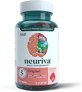 Neuriva 大脑支持补充剂 - 原味草莓软糖(一瓶 50 粒)、磷脂酰丝氨酸、无麸质、素食、支持焦点熟记集中性学习,提高准确性