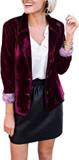SEMATOMALA 女式天鹅绒 2 粒扣外套 休闲翻领办公室外套 修身工作夹克 复古商务西装