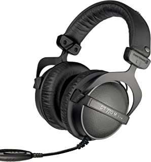 beyerdynamic 拜亚动力 DT770M 80欧姆 覆耳式监听耳机,封闭式设计,附带电源线,用于鼓手和声音工程师的音量控制 FOH,黑色