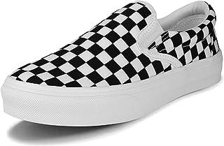 Bineill 黑色方格鞋女式黑白方格鞋女式格子一脚蹬鞋方格女