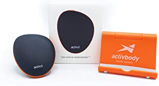 Activbody Activ5 手持等距力量训练设备 – 适用于手臂、腿、上下身体肌肉 – 便携轻便 – 附带定制健身训练应用程序,黑色和橙色