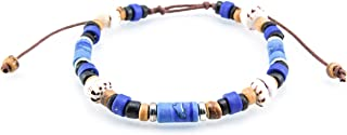 BlueRica 可调节夏威夷椰子木珠手镯,带 Fimo Tubes 和老虎泡泡壳珠子