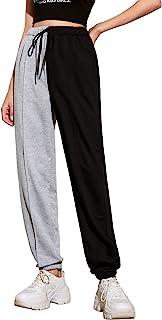 WDIRARA 女式字母印花双色弹性高腰休闲运动裤