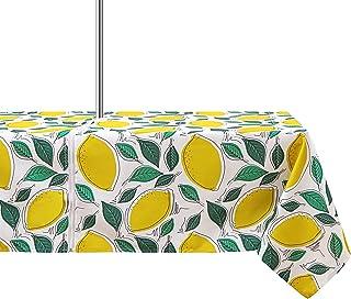 ColorBird 春夏黄柠檬印花户外桌布防水防溢涤纶桌布带拉链伞孔露台花园桌面装饰(152.4 x 213.3 厘米,拉链)