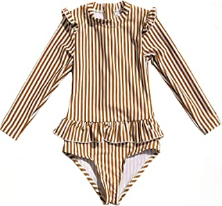 HOMILLE 女孩条纹褶皱连体泳衣长袖拉链*衣 幼儿女孩高领泳衣