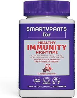 SmartyPants 成人夜晚每日维生素软糖:褪黑素;维生素 C、D 和锌;益生元;2 bil CFU;接骨木味,42 粒(21 天用量)