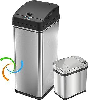 iTouchless 13加仑不锈钢自动垃圾桶,带异味控制系统,大盖开启传感器,厨房无触摸式垃圾桶 Stainless Steel (Set of 2) 13/2.5 gallon CDZT1302SS