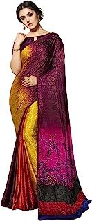 Siril 女式印花、装饰、蕾丝丝绸绉纱纱纱丽和未缝合衬衫