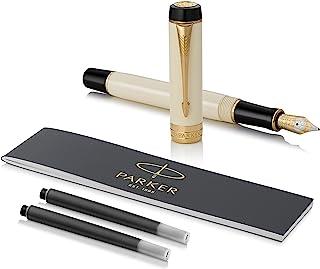 Parker 派克 Duofold 经典象牙色黑色镀金饰边钢笔,中号笔尖-,国际尺寸 - 礼品盒装