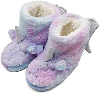 男孩女孩独角兽彩虹拖鞋 冬季温暖毛绒 彩色一脚蹬 短靴 室内及室外(幼儿/小童/大童)