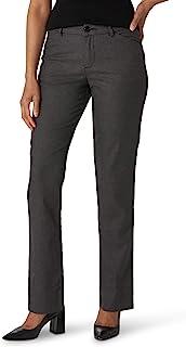 Lee 女士防皱宽松直筒裤,黑色/灰色犬牙花纹,10 长