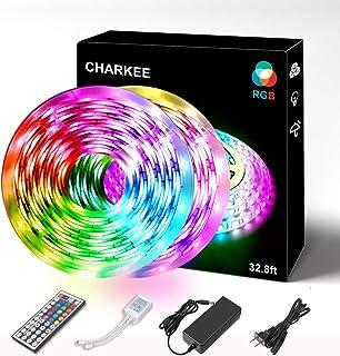 LED 灯带,CHARKEE 33 英尺(约 10 米)RGB 5050 柔性灯带,防水 300 LED 变色套件,带 44 键红外遥控器,12 伏电源,LED 灯套件适用于室内室外装饰