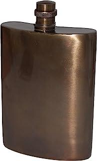 Buddha4all 复古饰面实心黄铜/铜酒酒瓶可容纳 10 盎司(约 283.5 毫升)酒瓶,适用于烈酒,高抛光保密酒瓶,无泄漏,*礼品创意酒瓶(黄铜)