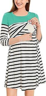 LittleMax 女式七分袖哺乳连衣裙条纹孕妇连衣裙带口袋
