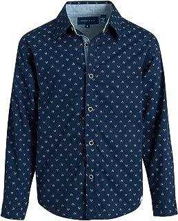 Perry Ellis 男孩系扣衬衫 - 长袖有领衬衫