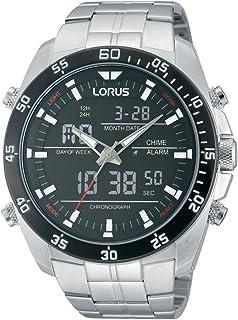 Lorus 男士模拟石英手表不锈钢表链 - RW611AX9