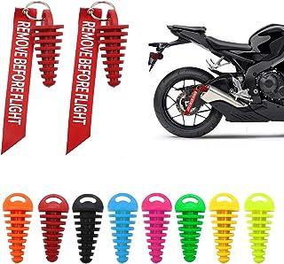 1.5 厘米 - 3.8 厘米 2 件消声器排气塞摩托车越野摩托车 2 冲程橡胶排气消声器带钥匙扣标签起动发动机红色