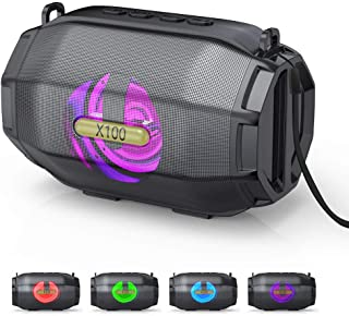 LED蓝牙音箱,VersionTECH。便携式蓝牙音箱,7色灯光迷你无线立体声扬声器,带 AUX 端口,USB 输出,高清声音,适用于智能手机电脑,银色黑色