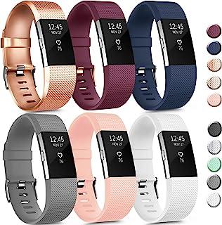 6 件装运动腕带兼容 Fitbit Charge 2 腕带,可调节替换腕带适合女士男士小号(6 包 B,S 码)