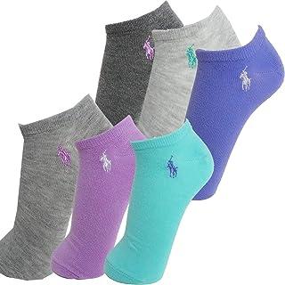 Ralph Lauren 拉夫·劳伦 女式 6 双装运动超低帮袜,蓝*/白色,尺码 9-11 适合4-10.5