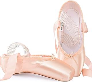 Soudittur 女孩女士芭蕾舞尖头鞋专业粉色缎面舞鞋,带缝合松紧带和硅胶鞋头垫(请选择大一码)