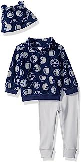 GERBER 婴儿男孩3件套摇粒绒上衣 + 长裤 + 帽子套装