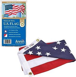 Annin Flagmakers Model 2710 旗子,美国,强韧特克斯(Tough-Tex),坚固,持久,3x5英尺(约0.91 x 1.52米),美国制造,带有缝制条纹,绣花星星和黄铜索环