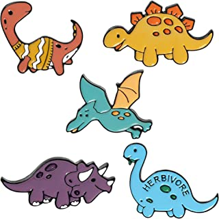 ROFARSO 可爱珐琅别针套装卡通恐龙胸针动物图案翻领别针配件背包徽章帽袋适合女士女孩儿童礼物