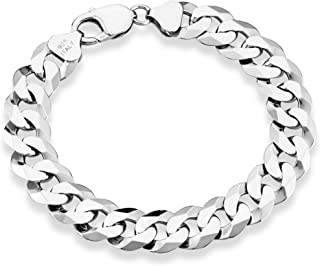 Miabella 925 纯银意大利 17mm 实心钻石切割古巴链式手链 21.59 cm 男士珠宝