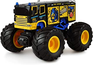 Amewi 22482 Monster 消防车 1:18,遥控模型车 电动怪物卡车 后驱 (2WD) RTR 2.4 GHz,蓝色