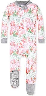 Burt's Bees baby 婴儿女孩有机花卉前拉链防滑连脚睡衣睡衣新生儿–24个月