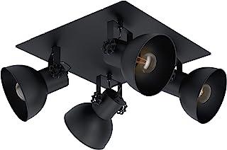 EGLO 吸顶灯 Barnstaple 1,4 个火焰吸顶灯,复古,钢制吸顶灯,客厅灯,黑色,带E27灯座的聚光灯
