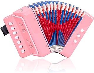 手风琴儿童玩具手风琴迷你乐器 7 个钥匙按钮儿童幼儿初学者粉色