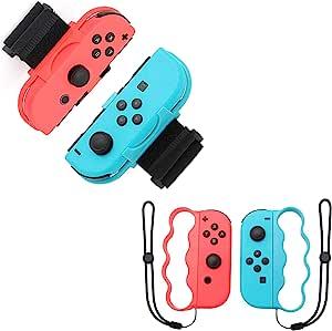 OLDZHU 4 合 1 配件套装适用于 Nintendo Switch 控制器游戏,腕带适用于 Just Dance 2021 2020 开关,拳击手柄适用于 Nintendo Switch Joy-Con 健身拳击游戏,适合成人和儿童