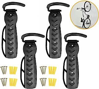 自行车壁挂挂钩支架山地自行车储物挂钩架,适用于室内家庭车库悬挂垂直冲洗,包括螺丝 60 磅*大容量(4 件)