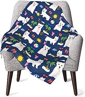 Westie Dogs 海滩夏季热带中性款婴儿毯超柔软双面托儿所,婴儿和幼儿床上用品 30 x 40 英寸(76x102 厘米)