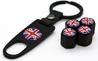 Mini Cooper 钥匙扣 4 件轮胎阀杆帽套装配件贴花零件 红色 Union Jack Series