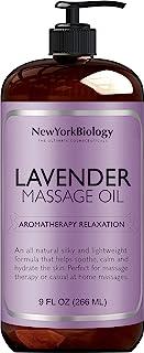 New York Biology 薰衣草按摩油 – 天然成分 – 感官身体油由精油制成,有助于肌肉放松和深层组织- 9 盎司(约 255.1 克)