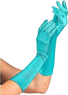 Widmann 14415 - 浅蓝色缎面手套,含氨纶成分,1 对,长度 40 厘米,配饰,20 年代,主题派对,嘉年华