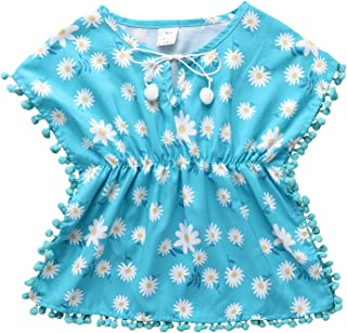 女婴泳装罩衫沙滩太阳裙绒球装饰流苏球太阳裙披巾包裹夏季沙滩上衣套装