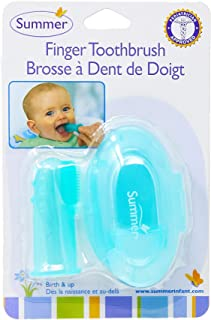 Summer Infant Finger Toothbrush with Case, Teal/White