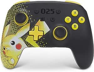 PowerA 增强无线控制器 适用于Nintendo Switch - 皮卡丘 025,Nintendo Switch Lite,Gamepad, 游戏控制器,蓝牙控制器,可充电,皮卡丘 - Nintendo Switch