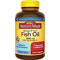 Nature Made 富含Omega-3的鱼油 1200毫克软胶囊,有益于心脏,100粒(包装可能会有所不同)