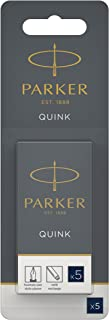 Parker Quink Fountain Pen Refills, Long Cartridges Blue/Black Ink, Blister Pack of 5
