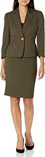 Le Suit 女式单扣缺口领釉面混色裙装