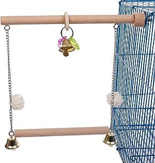 QBLEEV 鸟秋千,鹦鹉鲈鱼,鸟架,鸟笼木支架,带铃铛咀嚼珠,适用于锥体鹦鹉鹦鹉 可爱的鸟鹦鹉鹦鹉